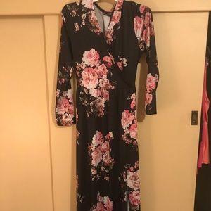 Long flower print faux wrap dress